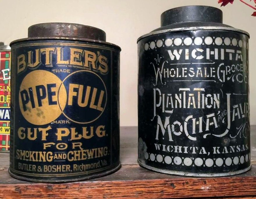 (Pinterest France) — a tin of Butler & Bosher Pipe Full Cut Plug