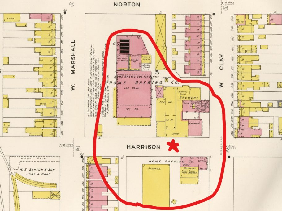 (Library of Congress) — Sanborn Fire Insurance Map from Richmond (1905) — Plate 57 — showing the combined complex at the height of its business